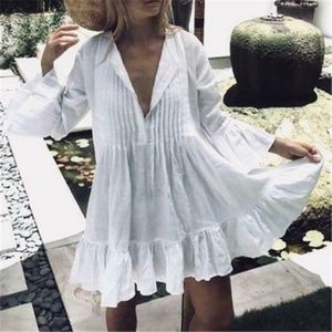 Boho White ruffle hem 3/4 sleeve v neck dress